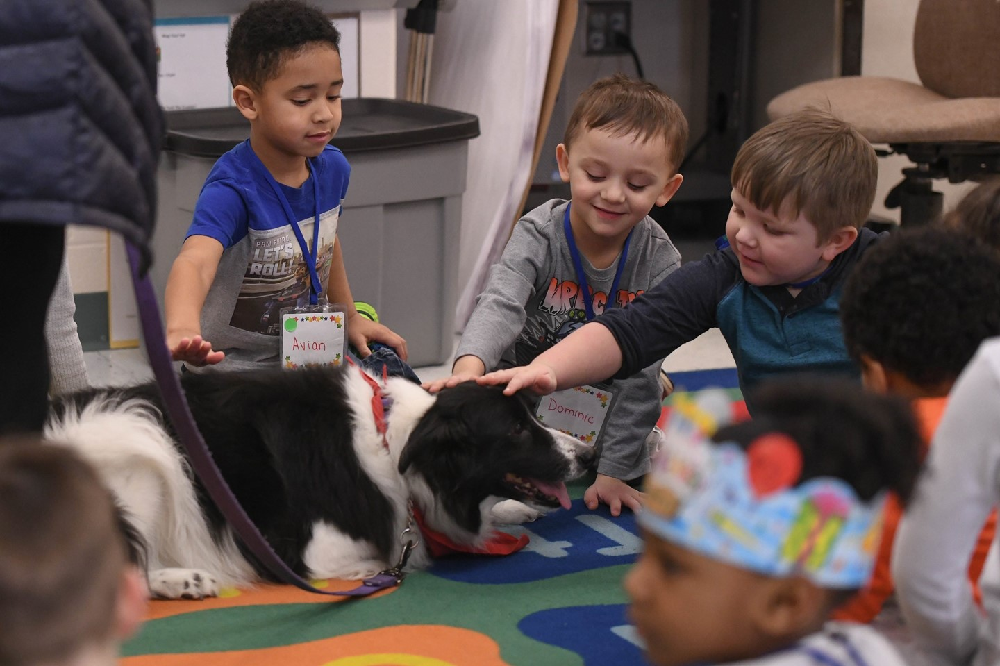 Scholars pet a therapy dog during class