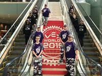 Robotics team on stairs